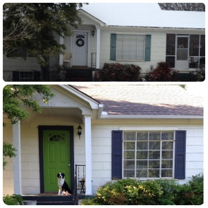 we gave our home a facelift with painted shutters (courtesy of a friend's hard work) and painted front door. #contenttorent